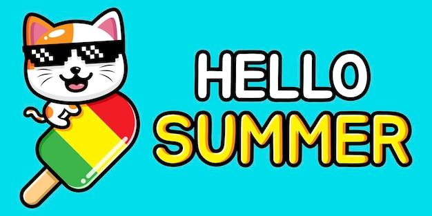 Chat mignon avec bannière de voeux d & # 39; été