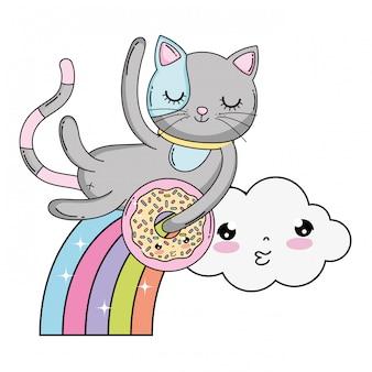 Chat mignon avec beignet à l'arc-en-ciel