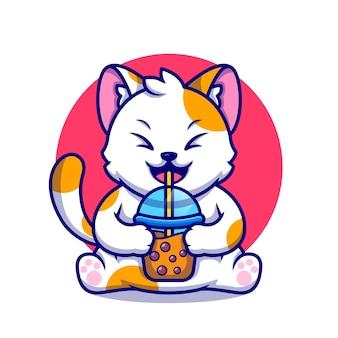 Chat mignon boire du thé au lait boba illustration de l'icône de dessin animé.