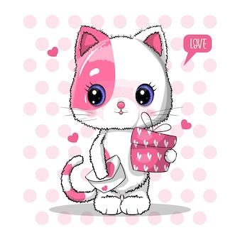 Chat mignon avec boîte-cadeau pour l'illustration de la saint-valentin