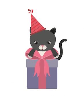 Chat mignon avec boîte-cadeau