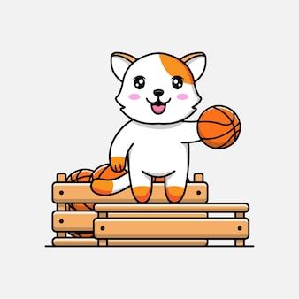 Chat mignon avec une boîte pleine de ballon de basket