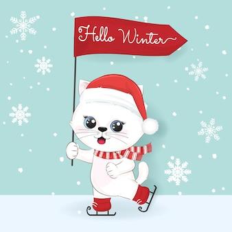 Chat mignon et bonjour texte d'hiver sur fond d'hiver, illustration de noël.
