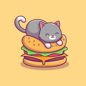 Chat mignon sur burger icône illustration. concept d'icône de nourriture animale isolé. style de dessin animé plat