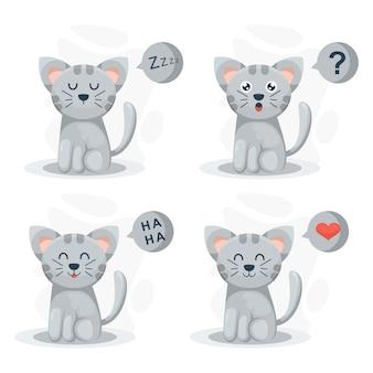 Chat mignon avec caricature d'expressions