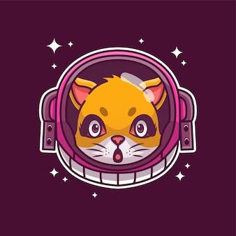 Chat mignon avec casque d'astronaute