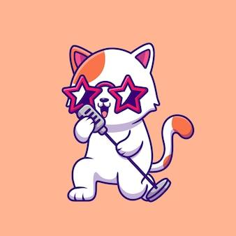 Chat mignon chantant avec dessin animé de microphone