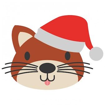 Chat mignon avec chapeau chaud noël