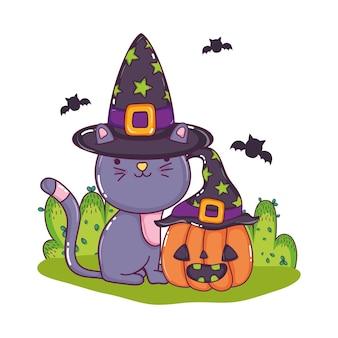 Chat mignon avec chapeau et citrouille avec des chauves-souris