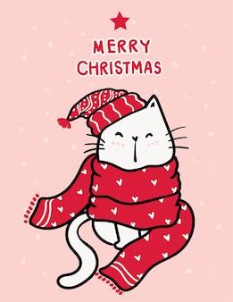 Chat mignon chaton blanc heureux en écharpe tricotée rouge et bonnet, mot joyeux noël et neige tombant sur fond rose rose
