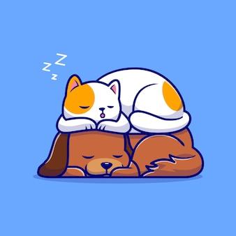 Chat mignon et chien dormir ensemble cartoon illustration