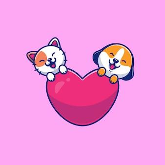 Chat mignon et chien avec illustration d'icône d'amour. concept d'icône animale isolé. style de dessin animé plat