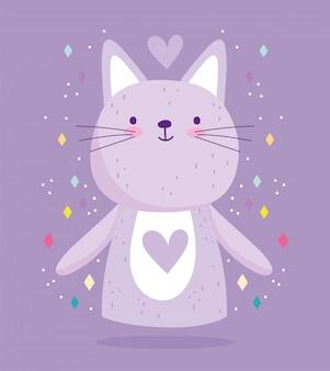 Chat mignon avec des coeurs