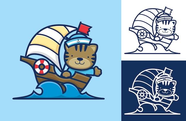Chat mignon en costume de marin naviguant sur un voilier.