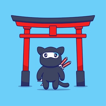 Chat mignon avec costume de ninja devant la porte torii