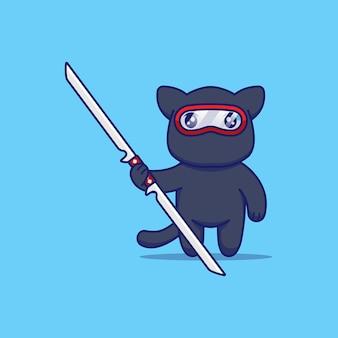 Chat mignon avec costume de ninja prêt à se battre