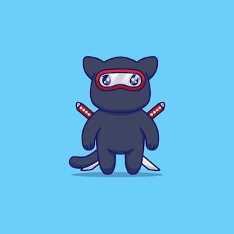 Chat mignon avec costume de ninja