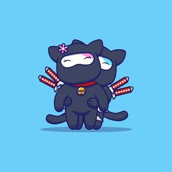 Chat mignon couple avec costume de ninja