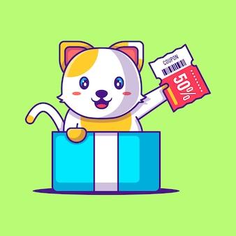 Chat mignon dans la boîte cadeau tenant l'illustration de dessin animé de coupon de réduction. animal et vente flash flat cartoon style concept