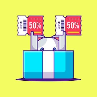 Chat mignon dans une boîte avec illustration de dessin animé de coupon de réduction. animal et vente flash flat cartoon style concept