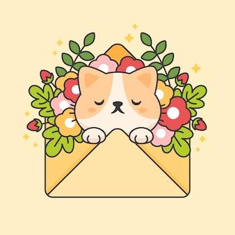 Chat mignon dans une enveloppe avec des fleurs et des feuilles