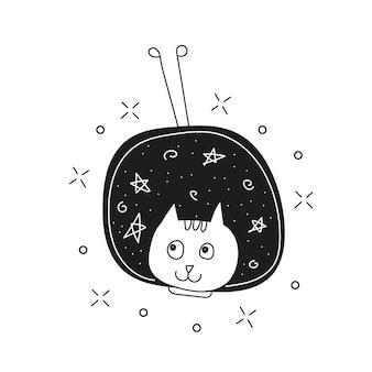 Chat mignon dans l'espace imprimé. illustration vectorielle enfantine dans le style doodle. parfait pour la conception de vêtements pour enfants et bébés, l'art mural, l'impression d'affiches