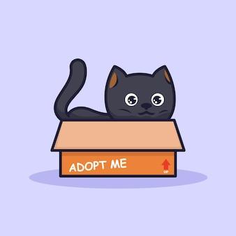 Chat mignon dans une illustration de boîte