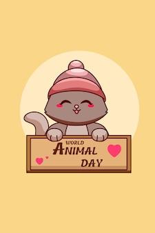 Chat mignon dans l'illustration de dessin animé de la journée mondiale des animaux