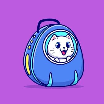 Chat mignon dans l'illustration de dessin animé de sac de transport pour animaux de compagnie