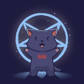 Chat mignon dans l'illustration du culte du diable