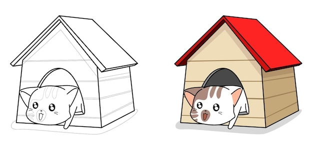 Chat mignon dans la maison coloriage de dessin animé