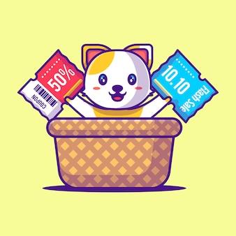 Chat mignon dans le panier tenant l'illustration de dessin animé de coupon de réduction. animal et vente flash flat cartoon style concept