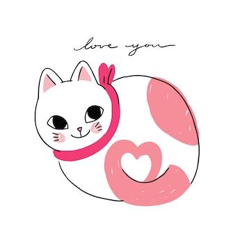 Chat mignon dessin animé amoureux