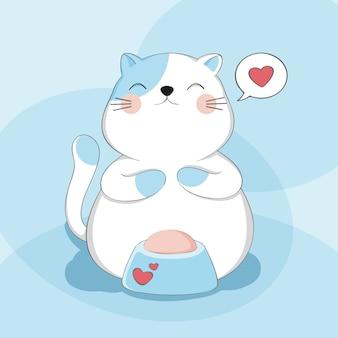 Chat mignon de dessin animé avec le caractère animal de croquis de nourriture