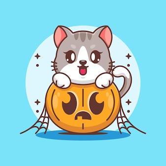 Chat mignon avec dessin animé citrouille