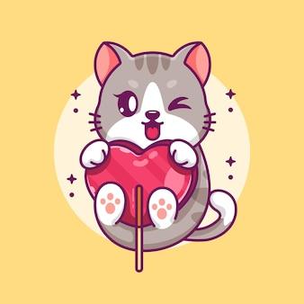 Chat mignon avec dessin animé coeur bonbons