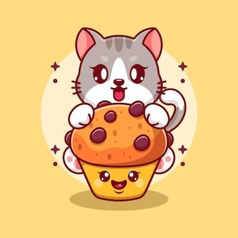 Chat mignon avec dessin animé cup cake