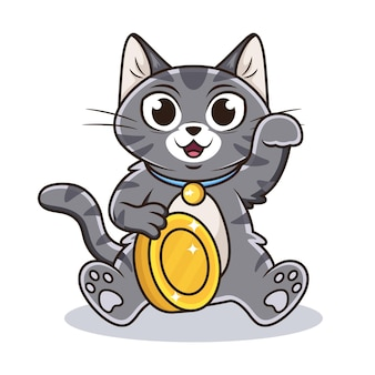 Chat mignon avec dessin animé de pièce de monnaie.