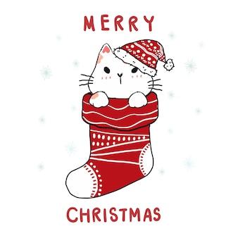 Chat mignon de doodle de carton dans la chaussette rouge de noël, joyeux noël.