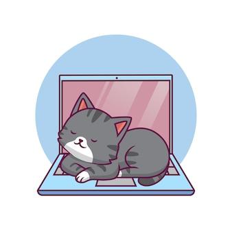 Chat mignon dormant sur l'illustration de dessin animé d'ordinateur portable