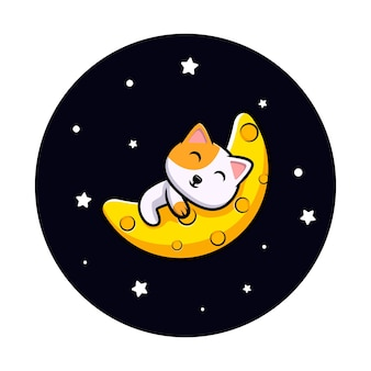 Chat mignon dormant sur la mascotte de dessin animé de lune