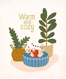 Chat mignon dormant sur un pouf rond, des plantes d'intérieur et un slogan chaleureux et confortable.