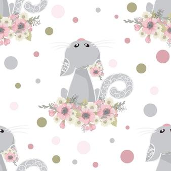 Chat mignon et doux avec des fleurs