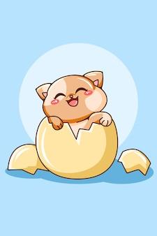 Chat mignon et drôle sur l'illustration de dessin animé d'oeuf