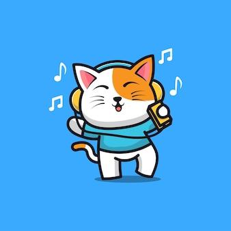 Chat mignon écoutant de la musique avec des écouteurs