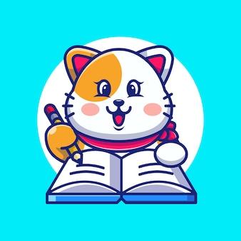 Chat mignon écrivant sur livre avec dessin animé au crayon