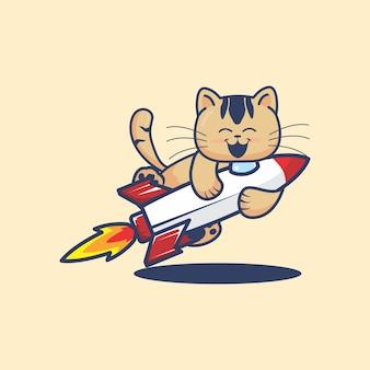 Chat mignon embrasse une illustration de dessin animé de fusée