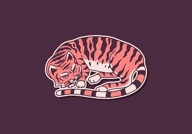 Chat mignon endormi animal couleur mignonne kitty domestique croquis gravé dessiné à la main pour bannière ou tshirt