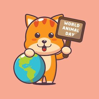 Chat mignon à l'événement de la journée mondiale des animaux