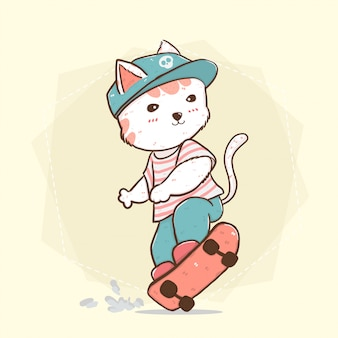 Chat mignon garçon skate plat sur illustration de planche à roulettes